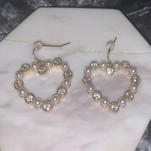 Pearl and Crystal Heart Earrings